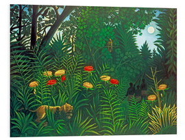 Schiuma dura  Exotic landscape with tiger and hunters - Henri Rousseau
