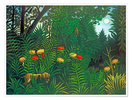 Poster Premium  Exotic landscape with tiger and hunters - Henri Rousseau