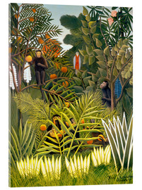 Vetro acrilico  Exotic Landscape with monkeys and a parrot - Henri Rousseau