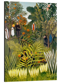 Alluminio Dibond  Exotic Landscape with monkeys and a parrot - Henri Rousseau