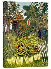 Tela  Exotic Landscape with monkeys and a parrot - Henri Rousseau