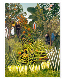 Poster  Exotic Landscape with monkeys and a parrot - Henri Rousseau