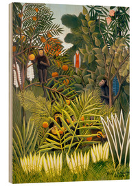 Legno  Exotic Landscape with monkeys and a parrot - Henri Rousseau