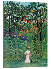Alluminio Dibond  Woman in an exotic forest - Henri Rousseau
