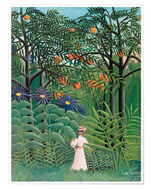 Poster Premium  Woman in an exotic forest - Henri Rousseau