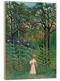 Stampa su legno  Woman in an exotic forest - Henri Rousseau