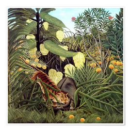 Poster Premium  Combat of Tiger and Buffalo - Henri Rousseau