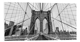 Stampa su schiuma dura  NYC: Brooklyn Bridge (monochrome) - Sascha Kilmer