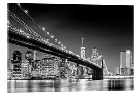 Stampa su vetro acrilico  Brooklyn Bridge with Manhattan Skyline (monochrome) - Sascha Kilmer