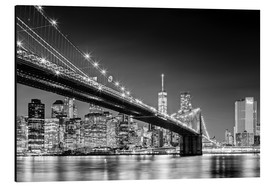 Alluminio Dibond  Brooklyn Bridge with Manhattan Skyline (monochrome) - Sascha Kilmer