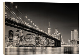 Legno  Brooklyn Bridge with Manhattan Skyline (monochrome) - Sascha Kilmer