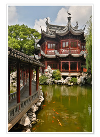 Poster  Shanghai, China Yu Garden and oriental styled buildings. - Darrell Gulin