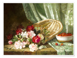 Poster Premium Still life with roses and rasperries