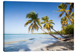 Stampa su tela  Famous Les Salines tropical beach with palm trees, Martinique, Caribbean - Matteo Colombo