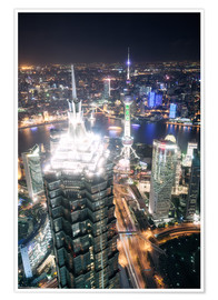 Poster  Shanghai city from the top, illuminated at night, China - Matteo Colombo