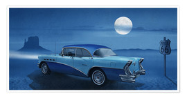 Poster Premium Blue night on Route 66