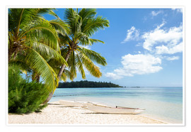 Poster  Beach with palm trees and turquoise ocean in Tahiti - Jan Christopher Becke