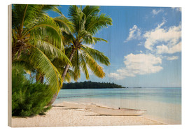 Stampa su legno  Beach with palm trees and turquoise ocean in Tahiti - Jan Christopher Becke