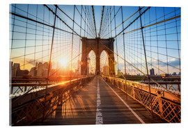 Stampa su vetro acrilico  Ponte di Brooklyn a NY all'alba - Jan Christopher Becke