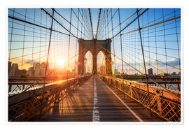 Poster Premium Ponte di Brooklyn a NY all'alba