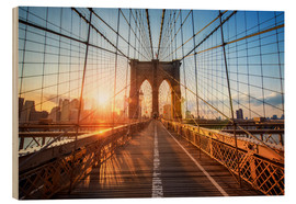Stampa su legno  Ponte di Brooklyn a NY all'alba - Jan Christopher Becke