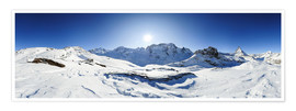Poster Premium  360 degree mountain panorama from Riffelberg above Zermatt with Monte Rosa and Matterhorn in Winter - Peter Wey