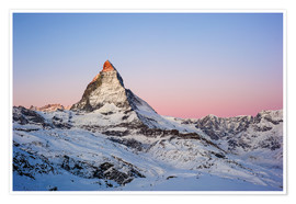 Poster Premium  Matterhorn at sunrise, view from Gornergrat, Zermatt, Valais, Switzerland - Peter Wey