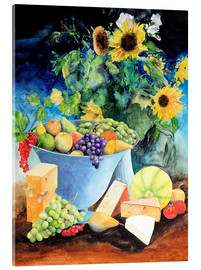 Stampa su vetro acrilico  Still life with sunflowers, fruits and cheese - Gerhard Kraus