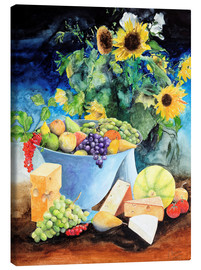 Stampa su tela  Still life with sunflowers, fruits and cheese - Gerhard Kraus