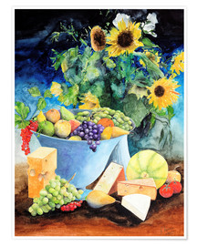 Poster Premium  Still life with sunflowers, fruits and cheese - Gerhard Kraus