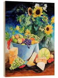Legno  Still life with sunflowers, fruits and cheese - Gerhard Kraus