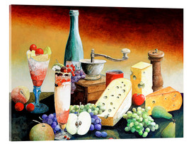 Stampa su vetro acrilico  Stil life with coffee grinder, fruits and cheese - Gerhard Kraus