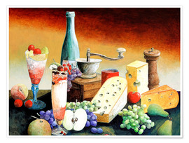 Poster Premium Stil life with coffee grinder, fruits and cheese