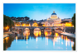 Poster Premium St. Peter and Tiber, Rome