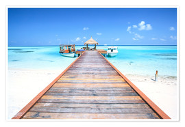 Poster Premium Pier to tropical blue sea, Maldives