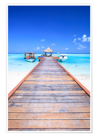 Poster Premium  Pier into the ocean, Maldives - Matteo Colombo