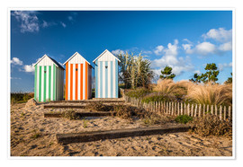 Poster Premium  Colorful beach huts in Brittany (France) - Christian Müringer