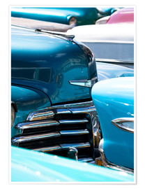 Poster  Vintage American cars parked on a street in Havana Centro, Havana, Cuba, West Indies, Central Americ - Lee Frost