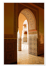 Poster Premium  Large patio columns with azulejos decor, Islamo-Andalucian art, Marrakech Museum, Marrakech, Morocco - Guy Thouvenin