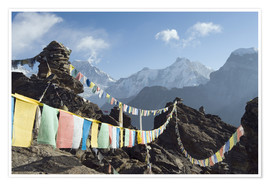 Poster Premium  Prayer flags, view from Gokyo Ri - Christian Kober