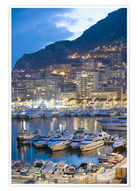 Poster Premium  Harbour in the Port of Monaco, Principality of Monaco, Cote d'Azur, Mediterranean, Europe - Christian Kober