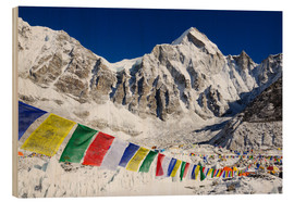 Stampa su legno  Prayer flags at the case camp of Mount Everest - Christian Kober