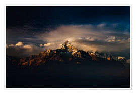 Poster Premium  Machapuchare (Machhapuchhre) (Fish Tail) mountain, in the Annapurna Himal of north central Nepal, Ne - Mark Chivers
