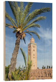 Stampa su legno  Minaret of the Koutoubia Mosque, UNESCO World Heritage Site, Marrakech, Morocco, North Africa, Afric - Nico Tondini