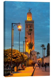 Stampa su tela  The Minaret of Koutoubia Mosque illuminated at night, UNESCO World Heritage Site, Marrakech, Morocco - Martin Child
