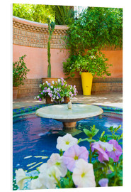 Stampa su PVC  Fountain and flowers in the Majorelle Gardens (Gardens of Yves Saint-Laurent), Marrakech, Morocco, N - Matthew Williams-Ellis