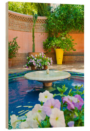Stampa su legno  Fountain and flowers in the Majorelle Gardens (Gardens of Yves Saint-Laurent), Marrakech, Morocco, N - Matthew Williams-Ellis
