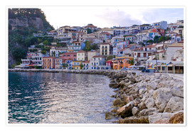 Poster Premium  Harbor of Parga, mainland Greece, Greece, Europe - Michael Runkel