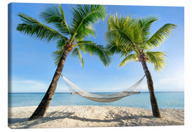 Stampa su tela  Hammock at the beach with palm trees in the south pacific - Jan Christopher Becke