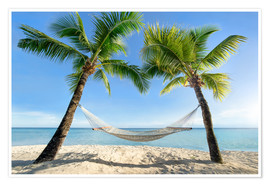 Poster  Hammock at the beach with palm trees in the south pacific - Jan Christopher Becke